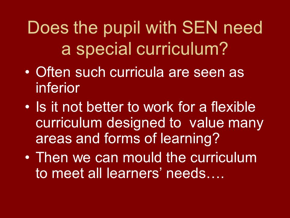 Does the pupil with SEN need a special curriculum.