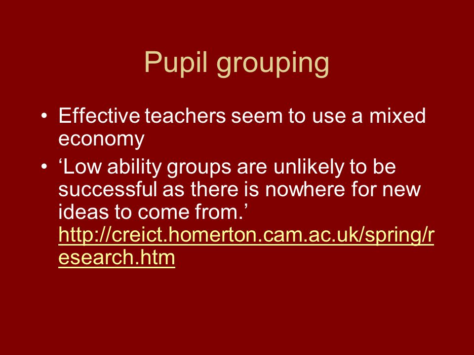 Another form of special group.What does research tell us about teaching assistants.