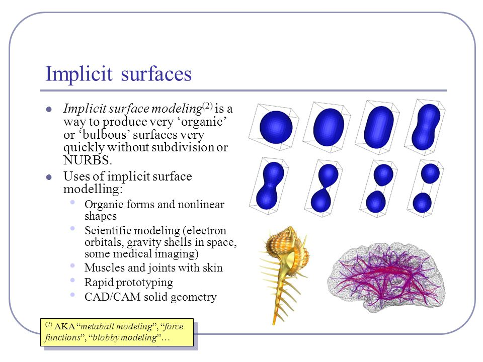 Implicit surfaces Implicit surface modeling (2) is a way to produce very 'organic' or 'bulbous' surfaces very quickly without subdivision or NURBS.