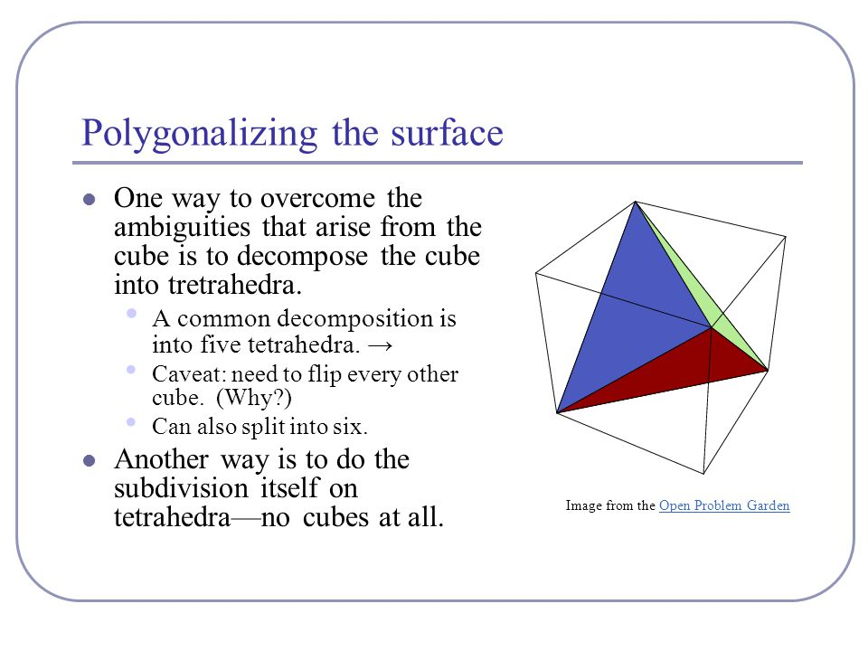 Polygonalizing the surface One way to overcome the ambiguities that arise from the cube is to decompose the cube into tretrahedra.