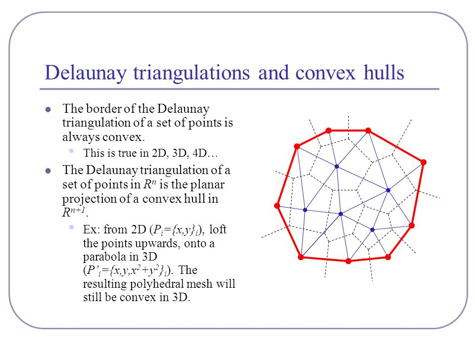 Delaunay triangulations and convex hulls The border of the Delaunay triangulation of a set of points is always convex.