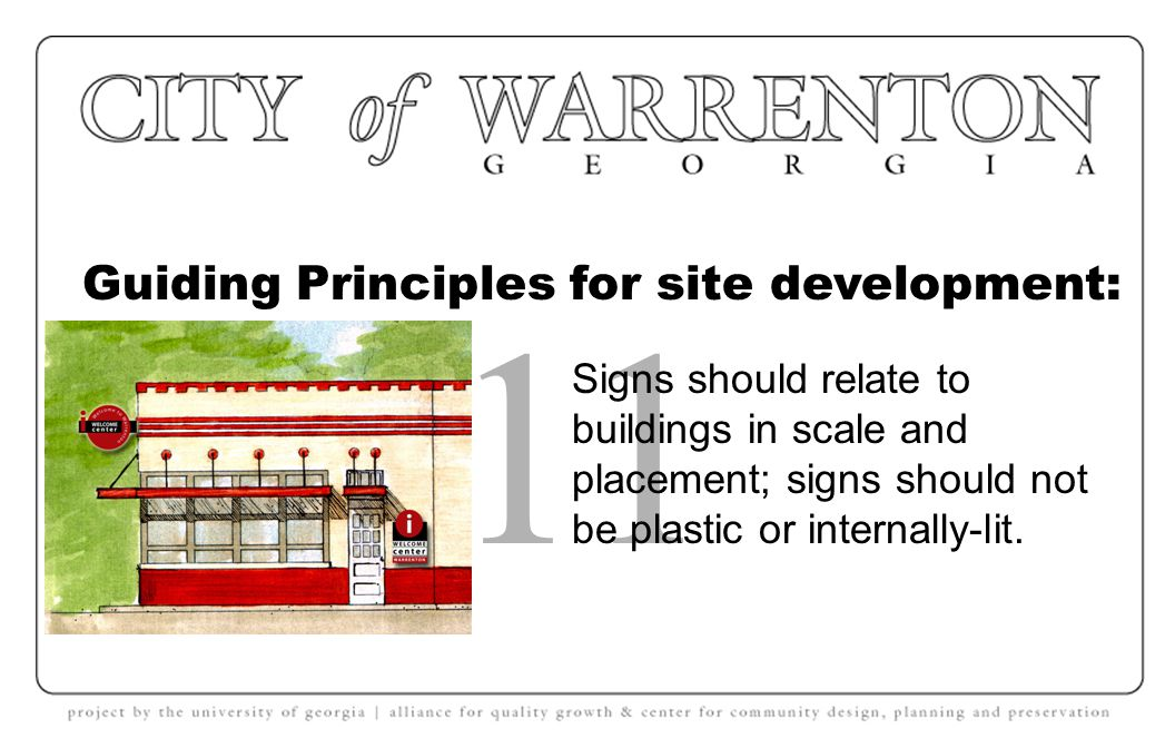 Guiding Principles for site development: 10 Overhead wires and other public utilities should be minimized and co-located where possible.