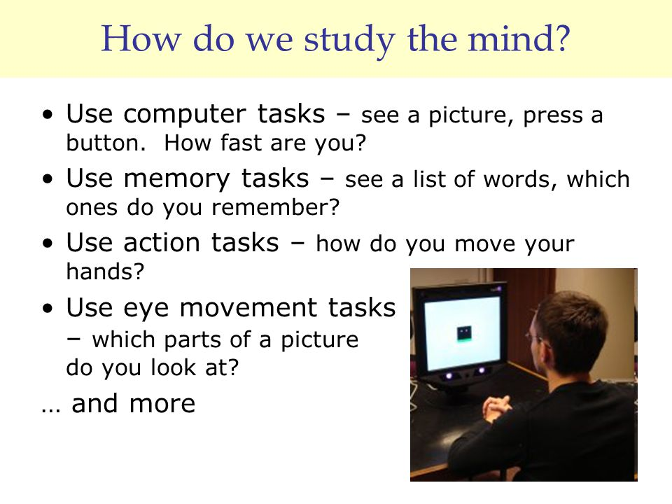 How do we study the mind? Use computer tasks – see a picture, press a button. How fast are you? Use memory tasks – see a list of words, which ones do