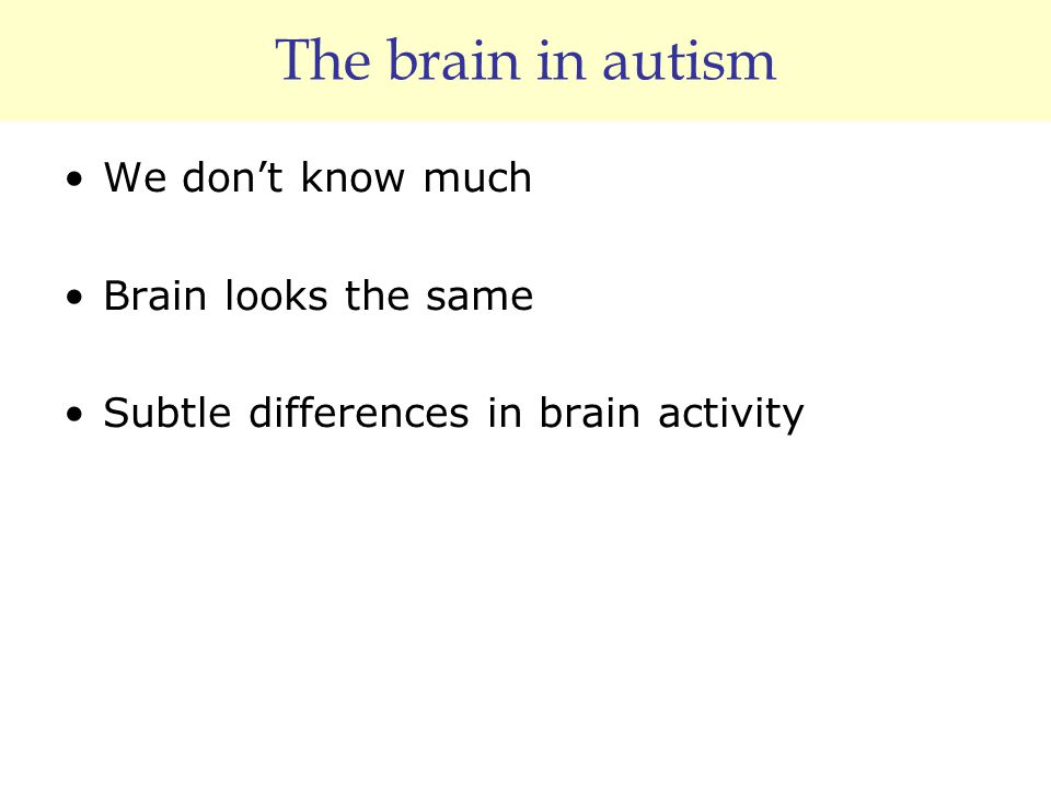 The brain in autism We don't know much Brain looks the same Subtle differences in brain activity