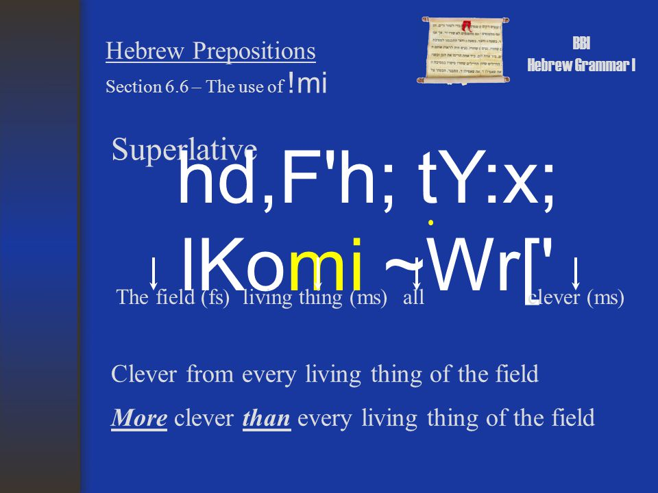 BBI Hebrew Grammar I Hebrew Prepositions Superlative Section 6.6 – The use of !mi hd,F'h; tY:x; lKomi ~Wr[' clever (ms)all Clever from every living th