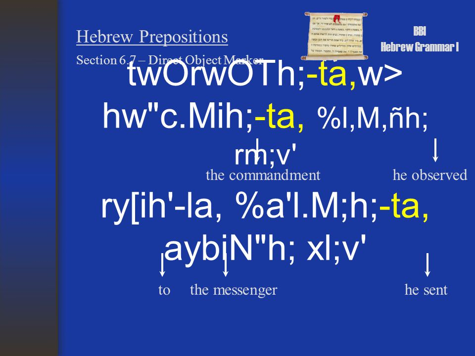 BBI Hebrew Grammar I Hebrew Prepositions Section 6.7 – Direct Object Marker twOrwOTh;-ta,w> hw