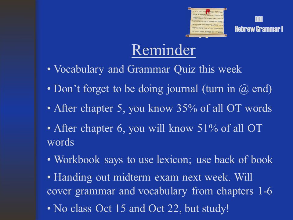 BBI Hebrew Grammar I Reminder Vocabulary and Grammar Quiz this week Don't forget to be doing journal (turn in @ end) After chapter 5, you know 35% of