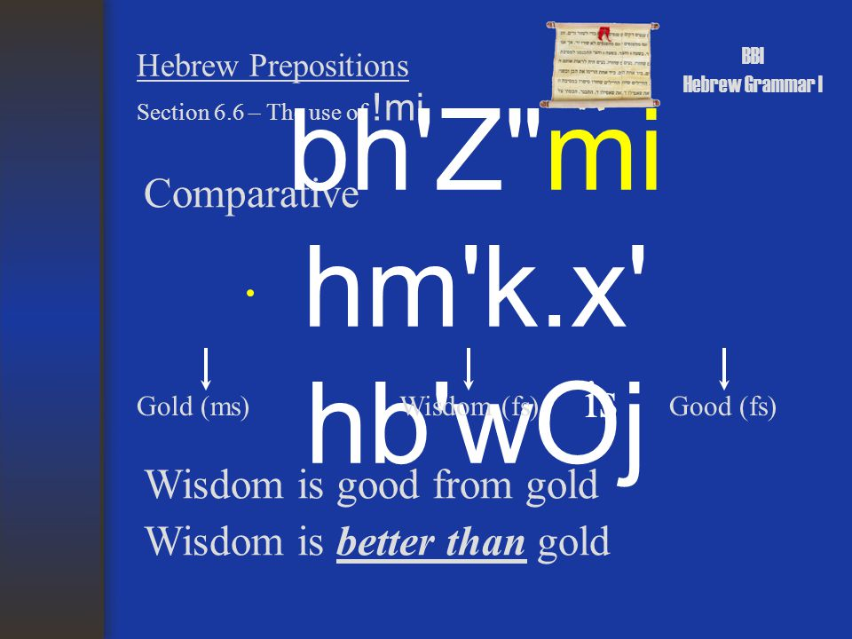 BBI Hebrew Grammar I Hebrew Prepositions Comparative Section 6.6 – The use of !mi aWhh; rp,Señh;-!mi hZ<h; rp,Señh; bWj good (ms) the book (ms) is This book is good from that book This book is better than that book the this (ms) the book (ms) the that (ms)