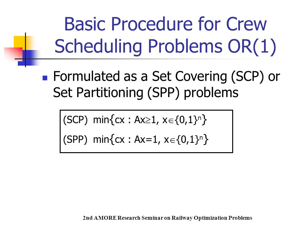 2nd AMORE Research Seminar on Railway Optimization Problems Basic Procedure for Crew Scheduling Problems OR(1) Formulated as a Set Covering (SCP) or Set Partitioning (SPP) problems (SCP)min { cx : Ax  1, x  {0,1} n } (SPP)min { cx : Ax=1, x  {0,1} n }