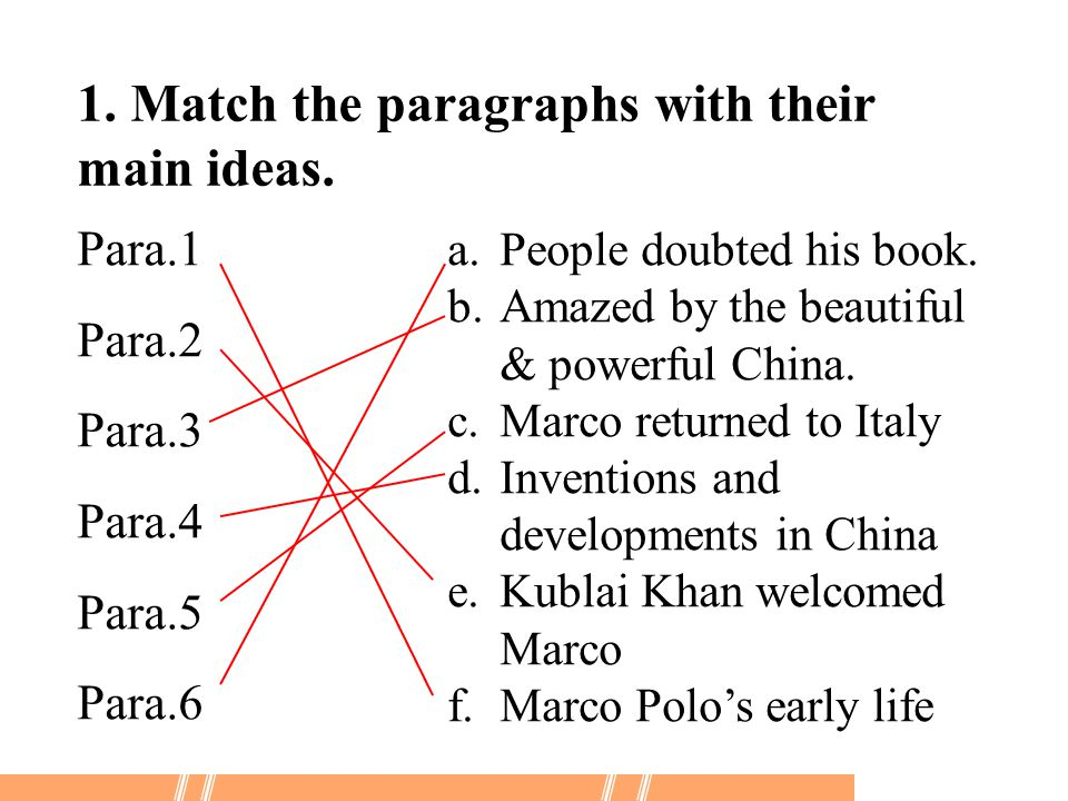 1. Match the paragraphs with their main ideas.