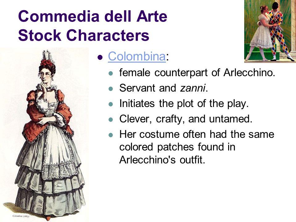 Commedia dell Arte Stock Characters Colombina: Colombina female counterpart of Arlecchino.