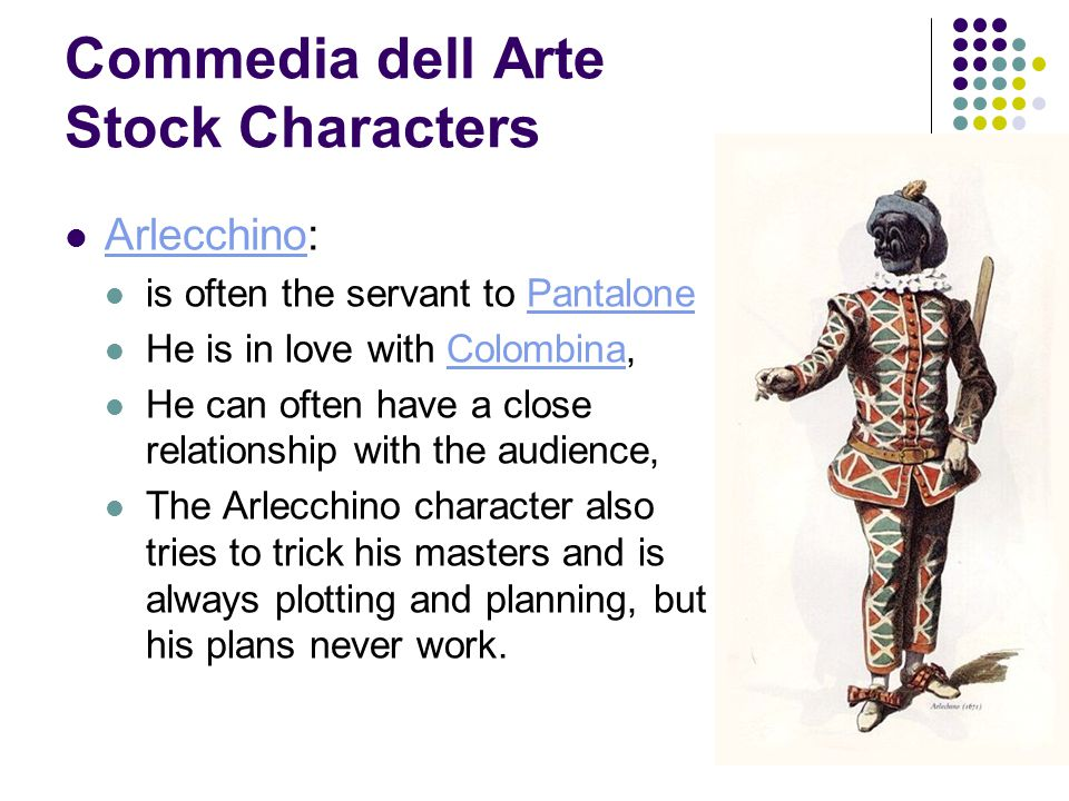 Commedia dell Arte Stock Characters Brighella: Brighella either a shopkeeper or servant.