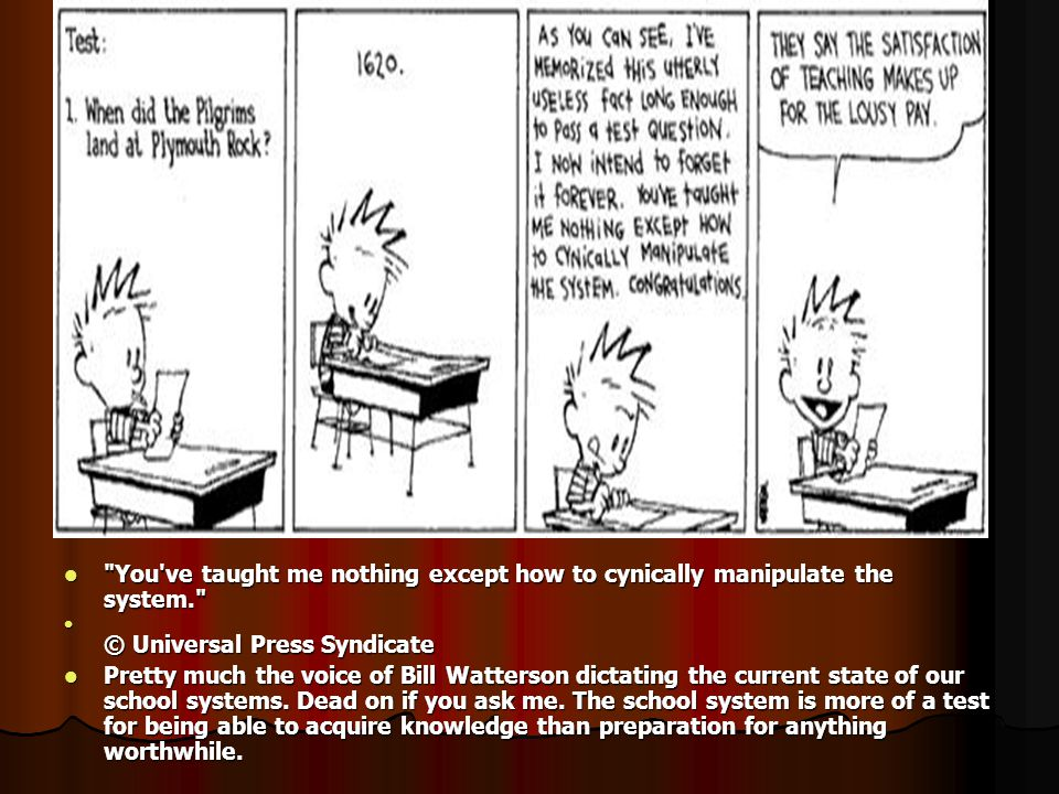 You ve taught me nothing except how to cynically manipulate the system. You ve taught me nothing except how to cynically manipulate the system. © Universal Press Syndicate © Universal Press Syndicate Pretty much the voice of Bill Watterson dictating the current state of our school systems.