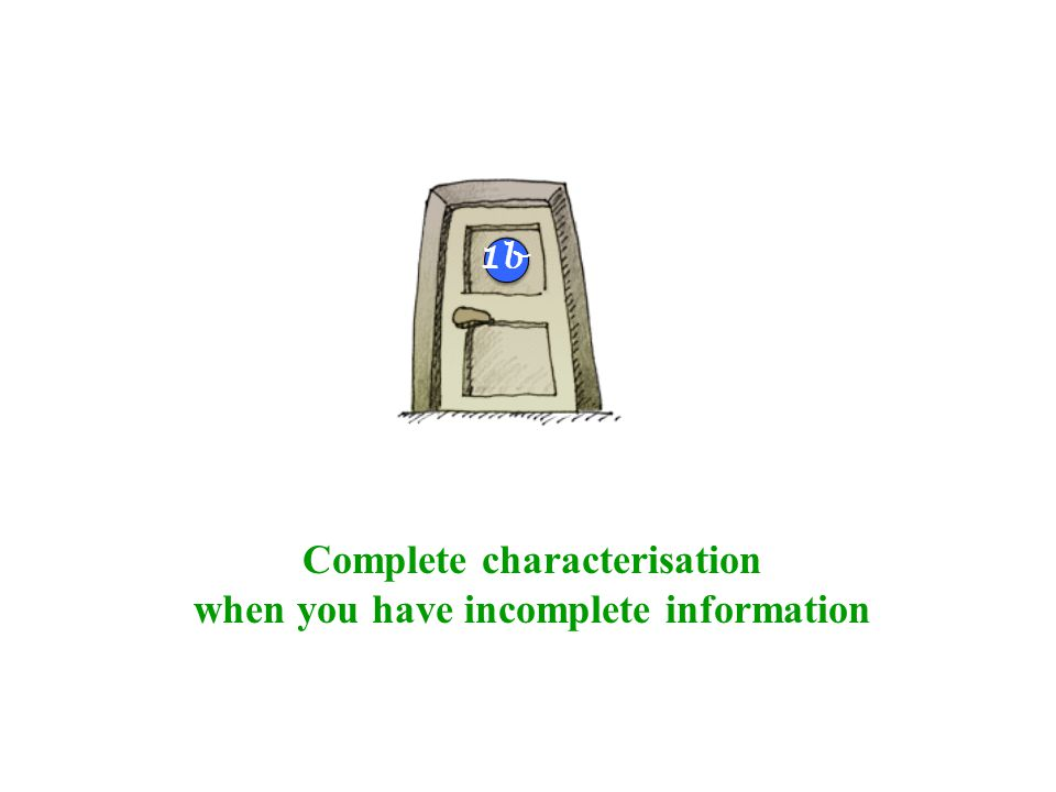 Complete characterisation when you have incomplete information 4b 1b