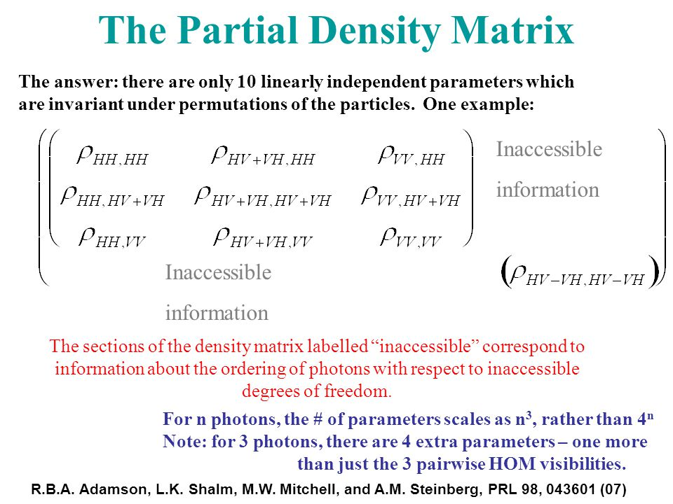The sections of the density matrix labelled inaccessible correspond to information about the ordering of photons with respect to inaccessible degrees of freedom.