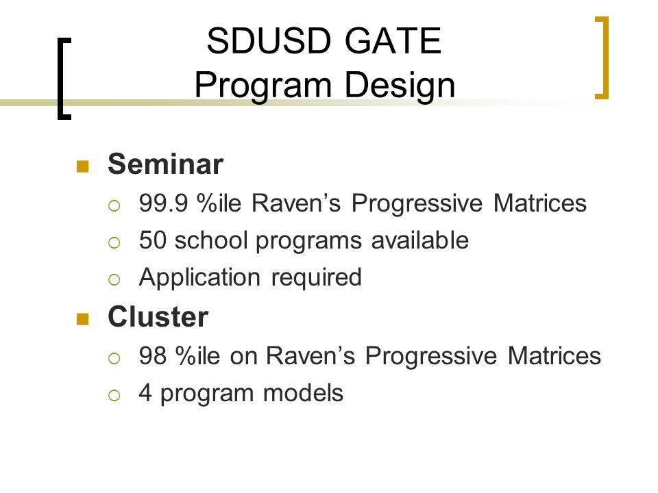SDUSD GATE Program Design Seminar  99.9 %ile Raven's Progressive Matrices  50 school programs available  Application required Cluster  98 %ile on Raven's Progressive Matrices  4 program models