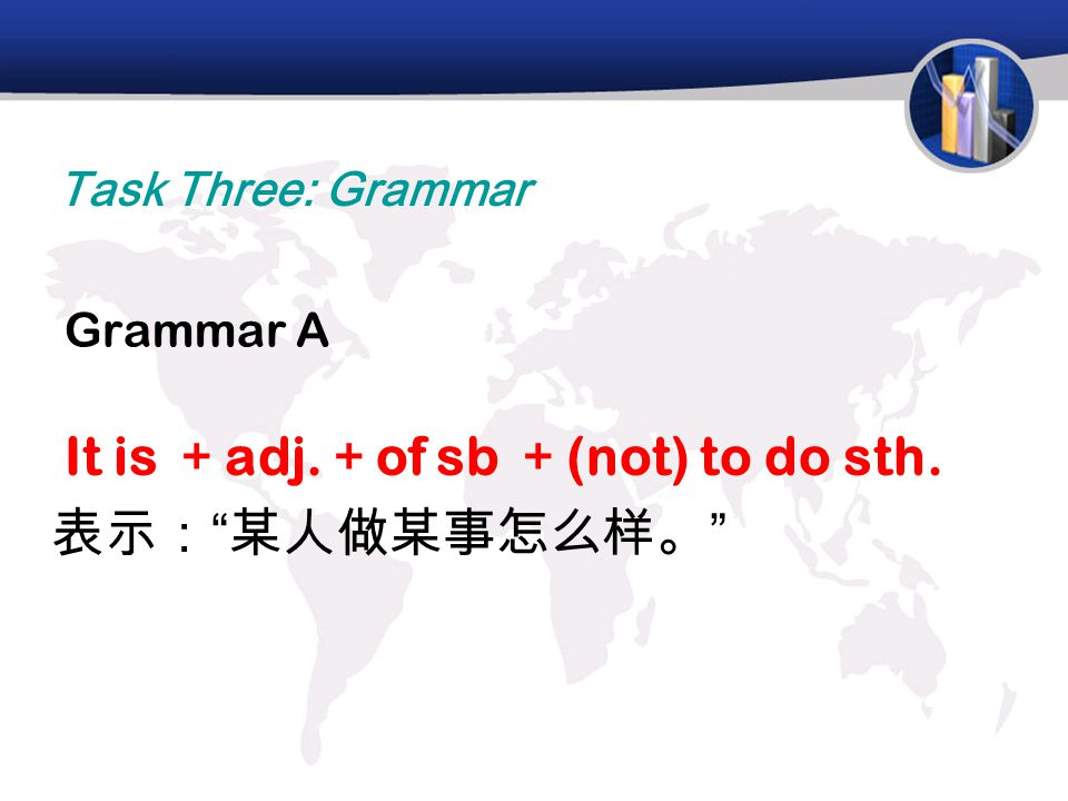 Grammar A It is + adj. + of sb + (not) to do sth. 表示: 某人做某事怎么样。 Task Three: Grammar