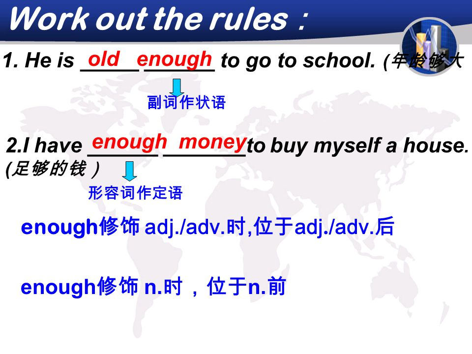 Work out the rules : enough 修饰 adj./adv.时, 位于 adj.
