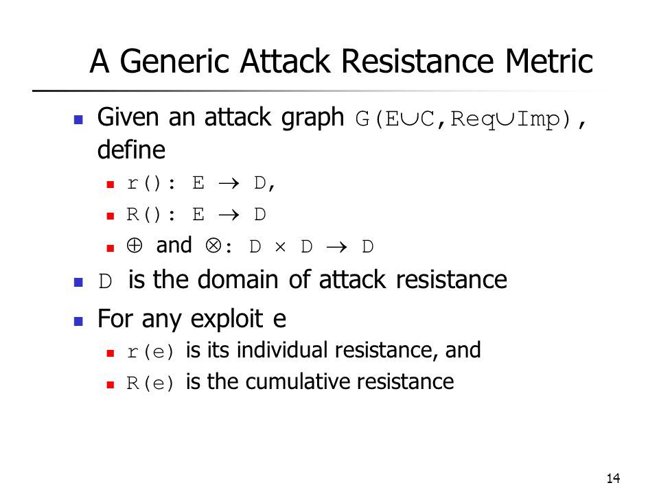 14 A Generic Attack Resistance Metric Given an attack graph G(E  C,Req  Imp), define r(): E  D, R(): E  D  and  : D  D  D D is the domain of attack resistance For any exploit e r(e) is its individual resistance, and R(e) is the cumulative resistance