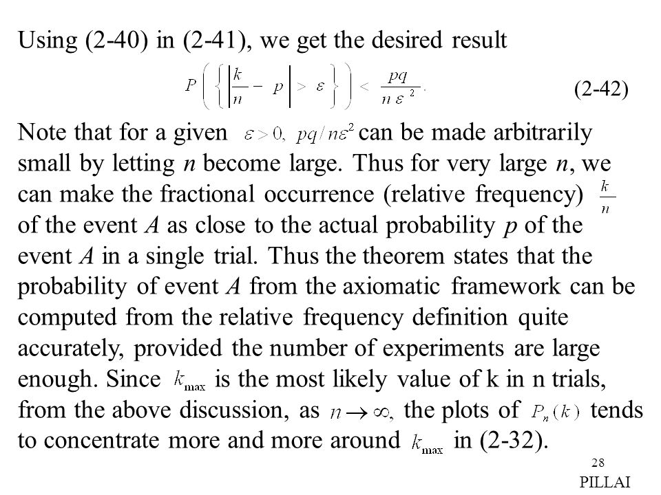 28 Using (2-40) in (2-41), we get the desired result Note that for a given can be made arbitrarily small by letting n become large. Thus for very larg