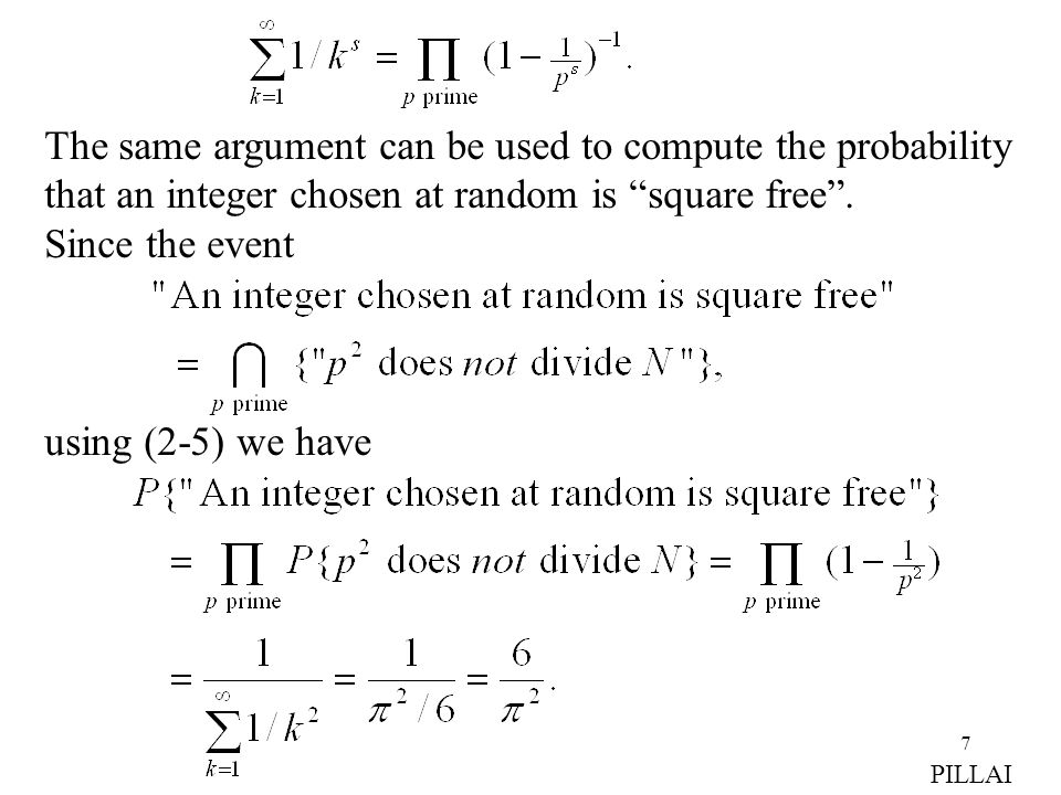 "7 The same argument can be used to compute the probability that an integer chosen at random is ""square free"". Since the event using (2-5) we have PILL"
