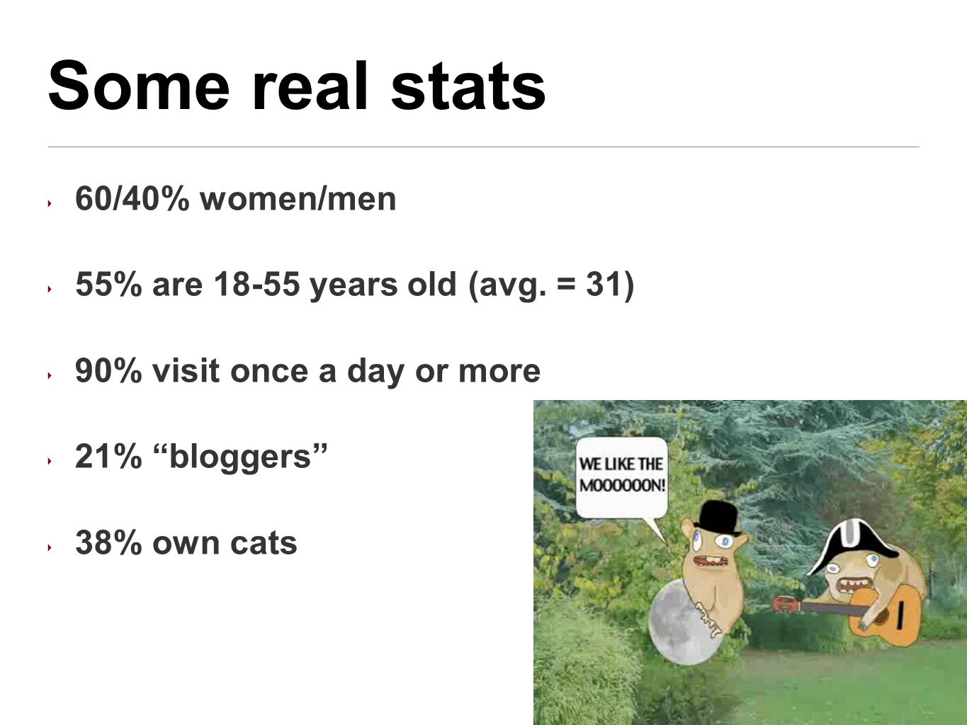 Some real stats ‣ 60/40% women/men ‣ 55% are 18-55 years old (avg.