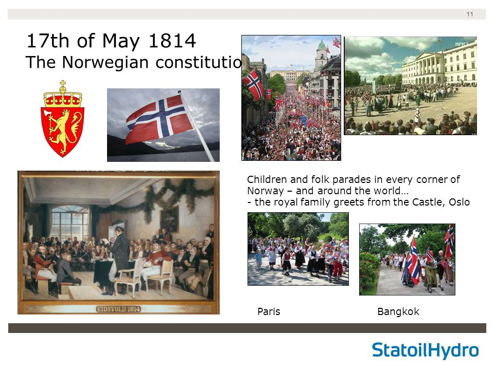 11 17th of May 1814 The Norwegian constitution Children and folk parades in every corner of Norway – and around the world… - the royal family greets from the Castle, Oslo Paris Bangkok