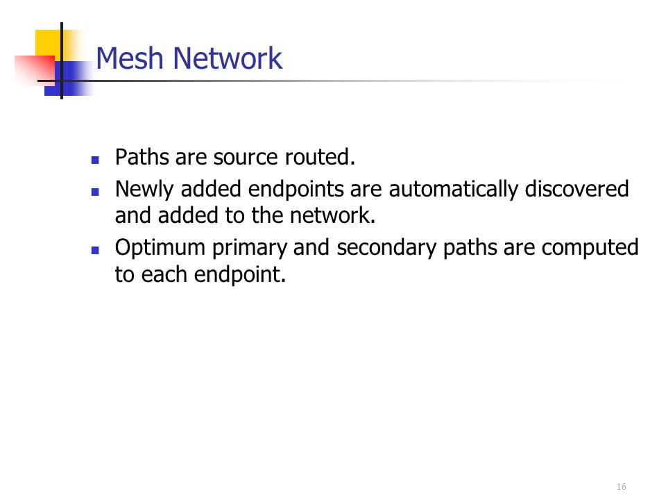 16 Mesh Network Paths are source routed.