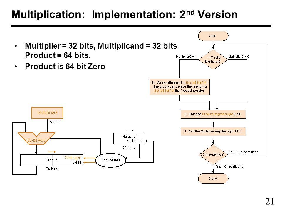 21 Multiplication: Implementation: 2 nd Version Multiplier = 32 bits, Multiplicand = 32 bits Product = 64 bits.