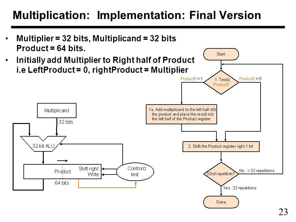 23 Multiplication: Implementation: Final Version Multiplier = 32 bits, Multiplicand = 32 bits Product = 64 bits.