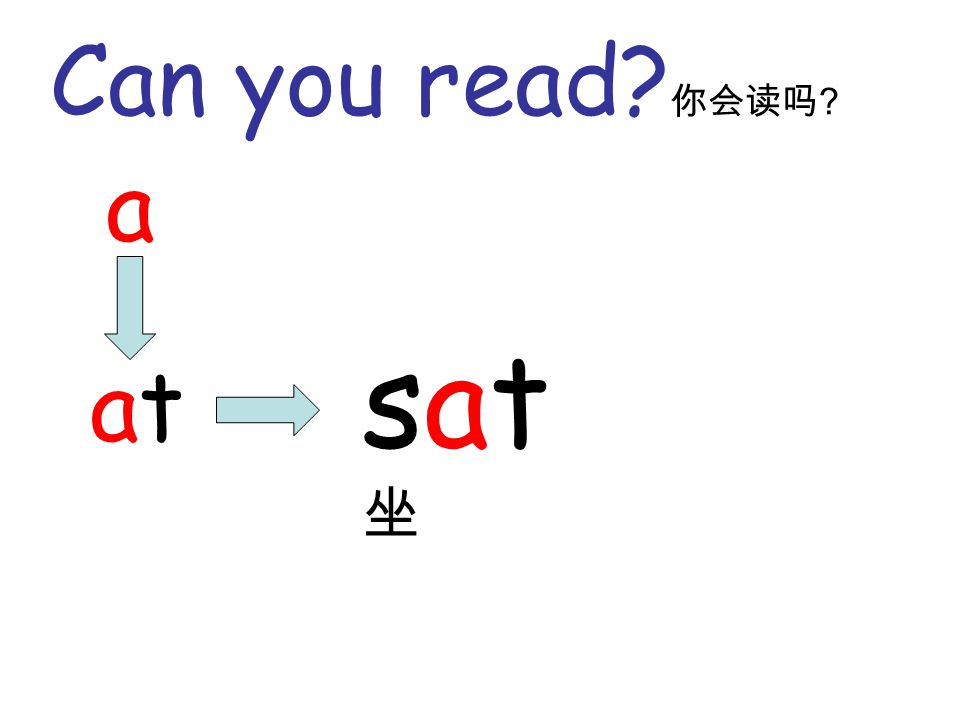 Can you read? 你会读吗 ? a atat sat坐sat坐