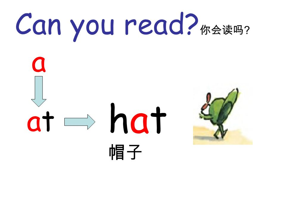 Can you read? 你会读吗 ? a atat hat 帽子