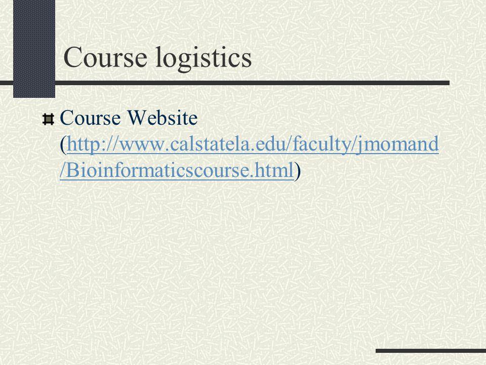 Course logistics Course Website (http://www.calstatela.edu/faculty/jmomand /Bioinformaticscourse.html)http://www.calstatela.edu/faculty/jmomand /Bioinformaticscourse.html