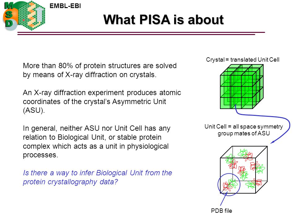 EMBL-EBI What PISA is about Crystal = translated Unit Cell More than 80% of protein structures are solved by means of X-ray diffraction on crystals.