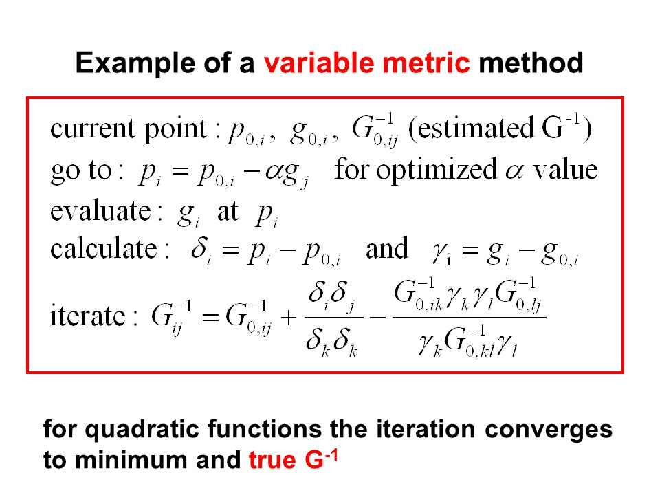 Example of a variable metric method for quadratic functions the iteration converges to minimum and true G -1