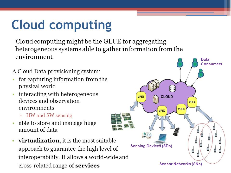 Cloud computing A Cloud Data provisioning system: for capturing information from the physical world interacting with heterogeneous devices and observation environments ▫HW and SW sensing able to store and manage huge amount of data Cloud computing might be the GLUE for aggregating heterogeneous systems able to gather information from the environment Data Consumers Sensing Devices (SDs) Sensor Networks (SNs) virtualization, it is the most suitable approach to guarantee the high level of interoperability.