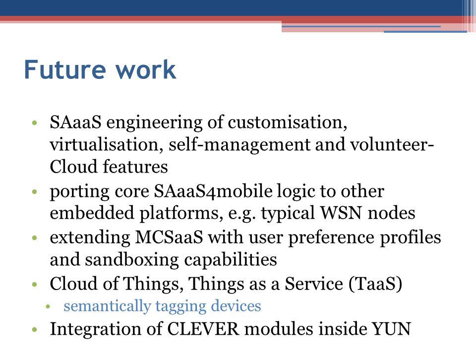 Future work SAaaS engineering of customisation, virtualisation, self-management and volunteer- Cloud features porting core SAaaS4mobile logic to other