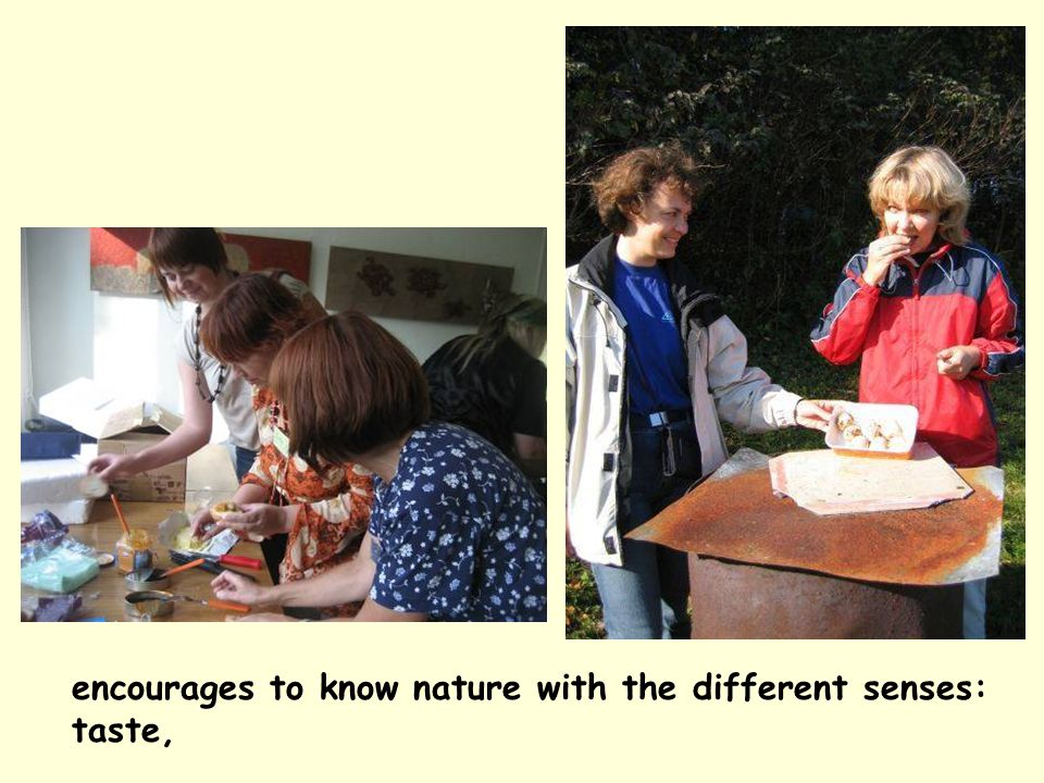 encourages to know nature with the different senses: taste,