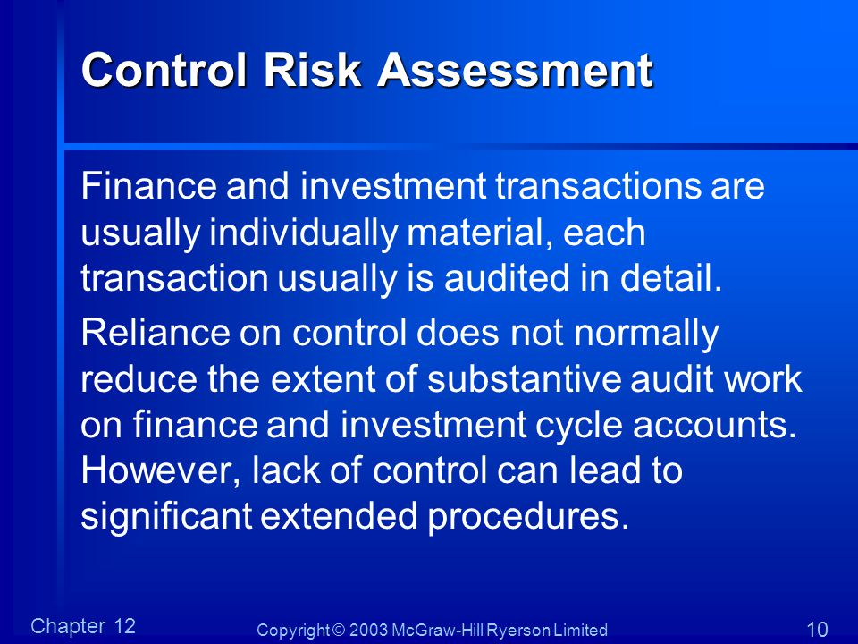 Copyright © 2003 McGraw-Hill Ryerson Limited Chapter 12 10 Control Risk Assessment Finance and investment transactions are usually individually materi