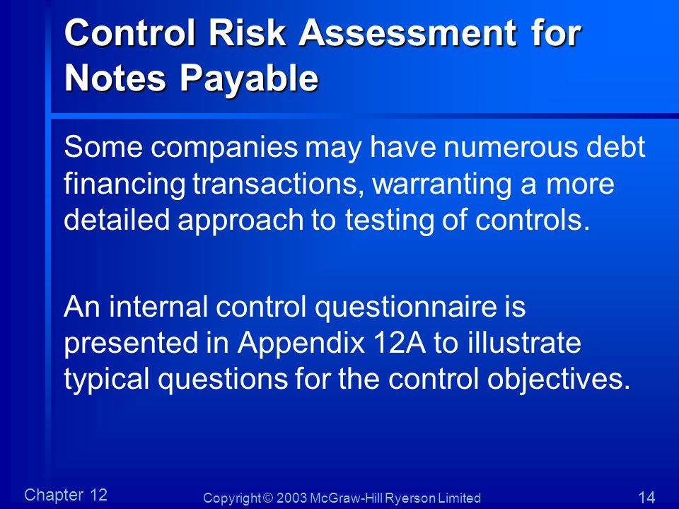 Copyright © 2003 McGraw-Hill Ryerson Limited Chapter 12 14 Control Risk Assessment for Notes Payable Some companies may have numerous debt financing t