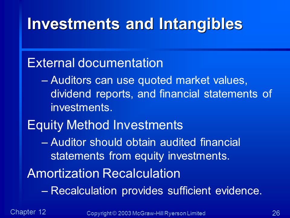 Copyright © 2003 McGraw-Hill Ryerson Limited Chapter 12 26 Investments and Intangibles External documentation –Auditors can use quoted market values,