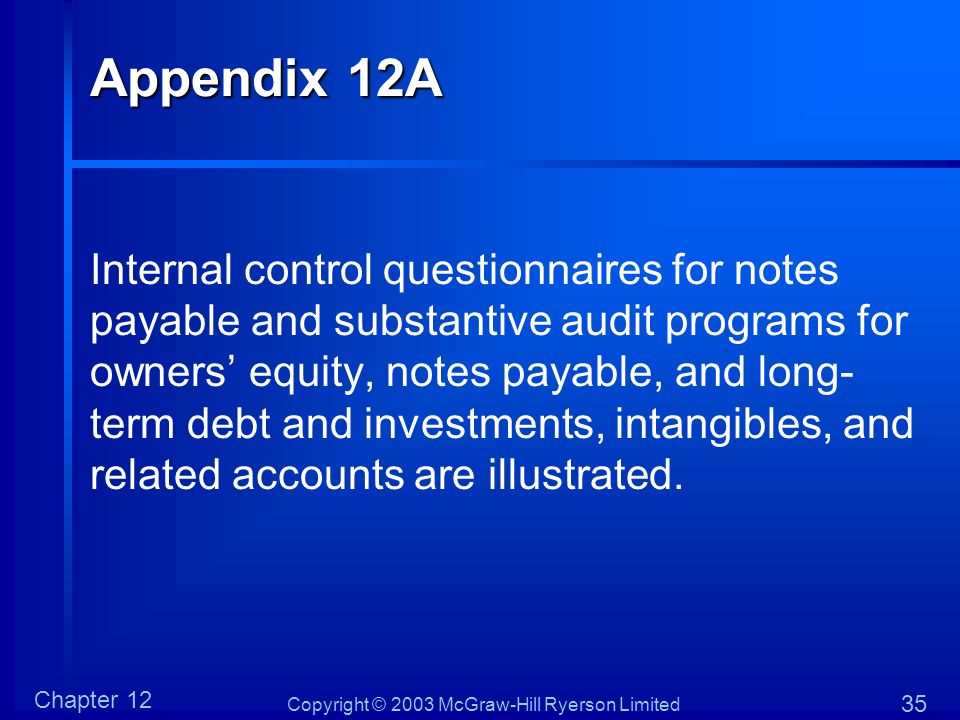Copyright © 2003 McGraw-Hill Ryerson Limited Chapter 12 35 Appendix 12A Internal control questionnaires for notes payable and substantive audit progra