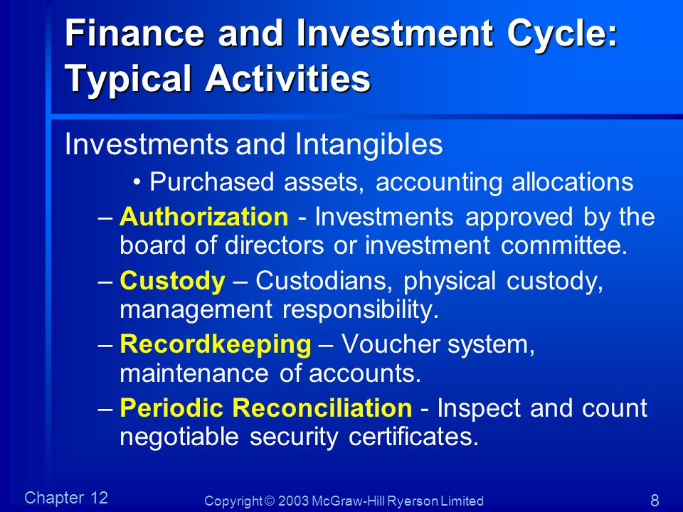 Copyright © 2003 McGraw-Hill Ryerson Limited Chapter 12 8 Finance and Investment Cycle: Typical Activities Investments and Intangibles Purchased asset