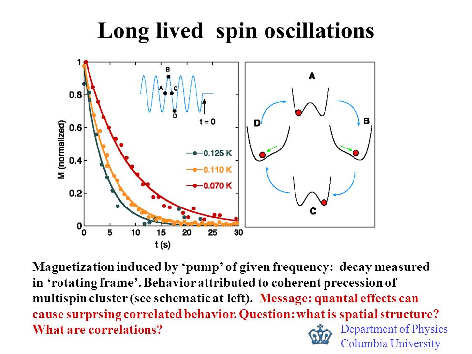Department of Physics Columbia University Long lived spin oscillations Magnetization induced by 'pump' of given frequency: decay measured in 'rotating