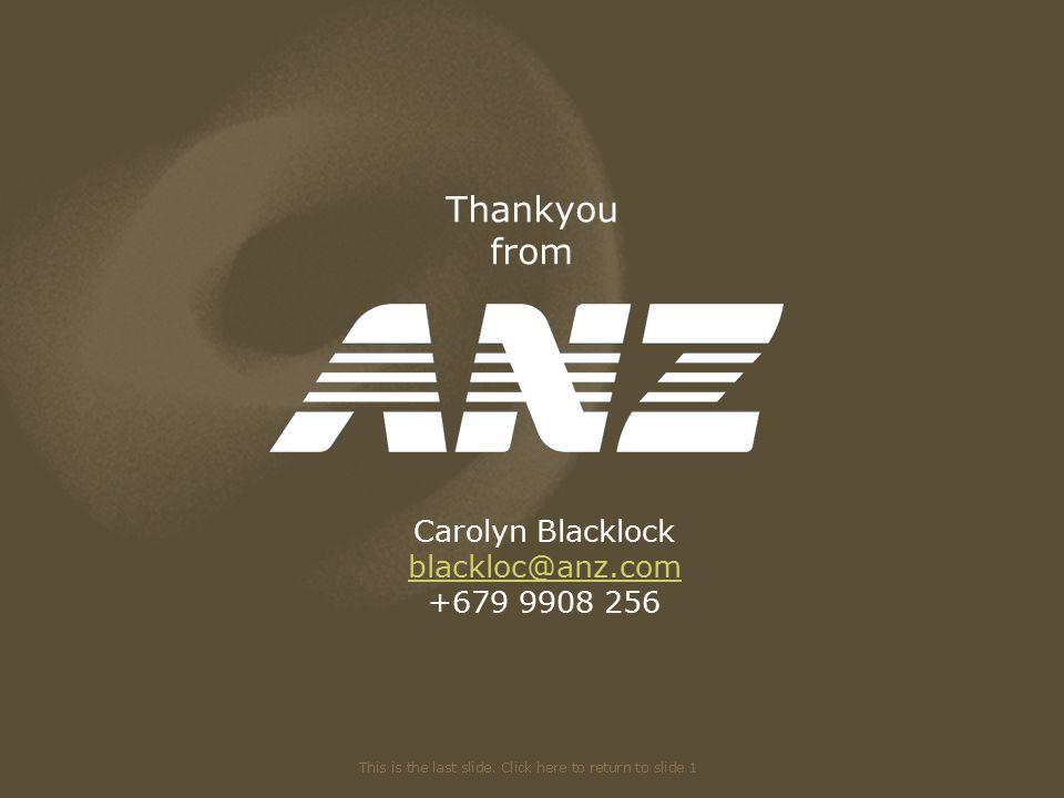 Thankyou from Carolyn Blacklock blackloc@anz.com +679 9908 256