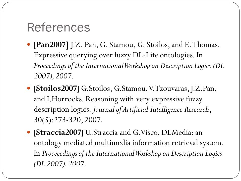 References [Pan2007] J.Z. Pan, G. Stamou, G. Stoilos, and E.