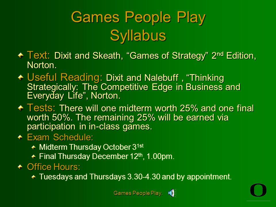 Games People Play. Games People Play