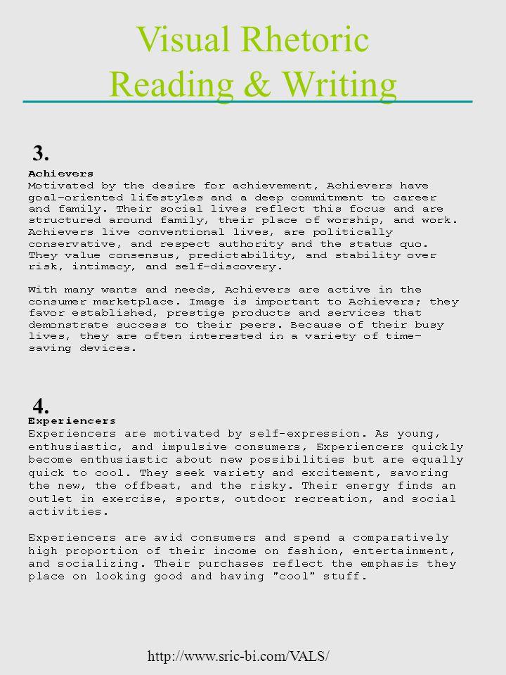 Visual Rhetoric Reading & Writing http://www.sric-bi.com/VALS/ 3. 4.