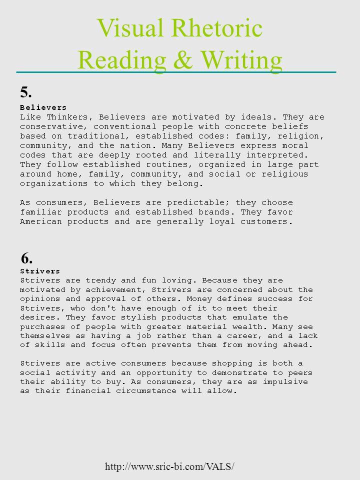 Visual Rhetoric Reading & Writing http://www.sric-bi.com/VALS/ 5. 6.