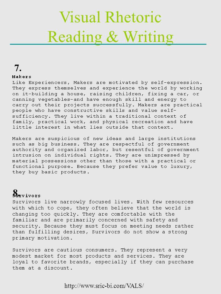 Visual Rhetoric Reading & Writing http://www.sric-bi.com/VALS/ 7. 8.